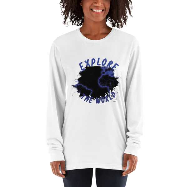 Explore The world010 American Apparel 2007 Unisex Fine Jersey Long Sleeve T-Shirt Comfy style