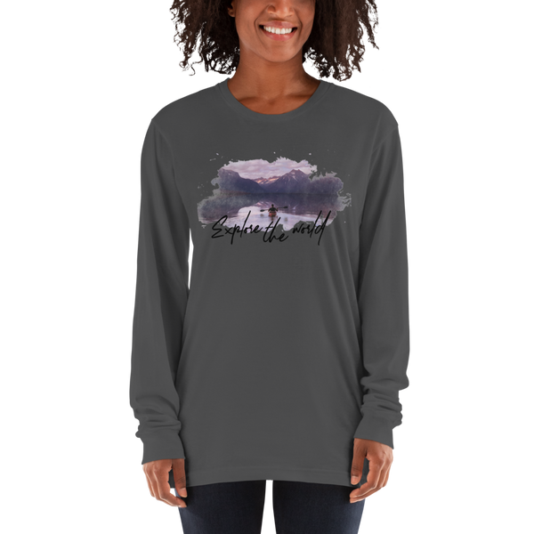 Explore The world002 American Apparel 2007 Unisex Fine Jersey Long Sleeve T-Shirt Comfy style