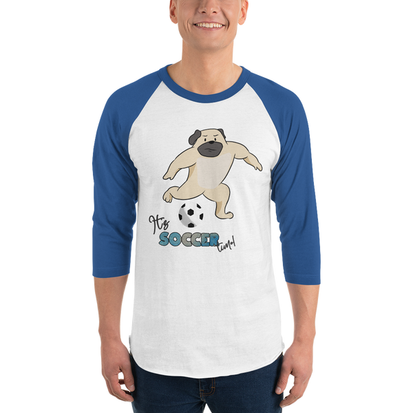 It's Soccer Time01 Tultex 245 Unisex Fine Jersey Raglan Tee w/ Tear Away Label