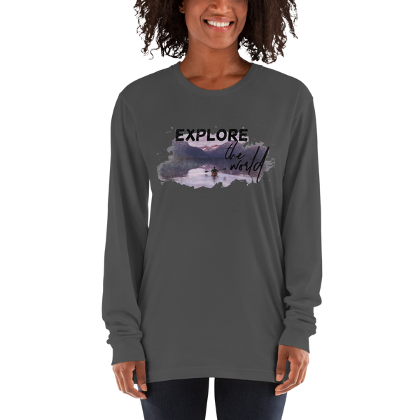 Explore The world005 American Apparel 2007 Unisex Fine Jersey Long Sleeve T-Shirt Comfy style