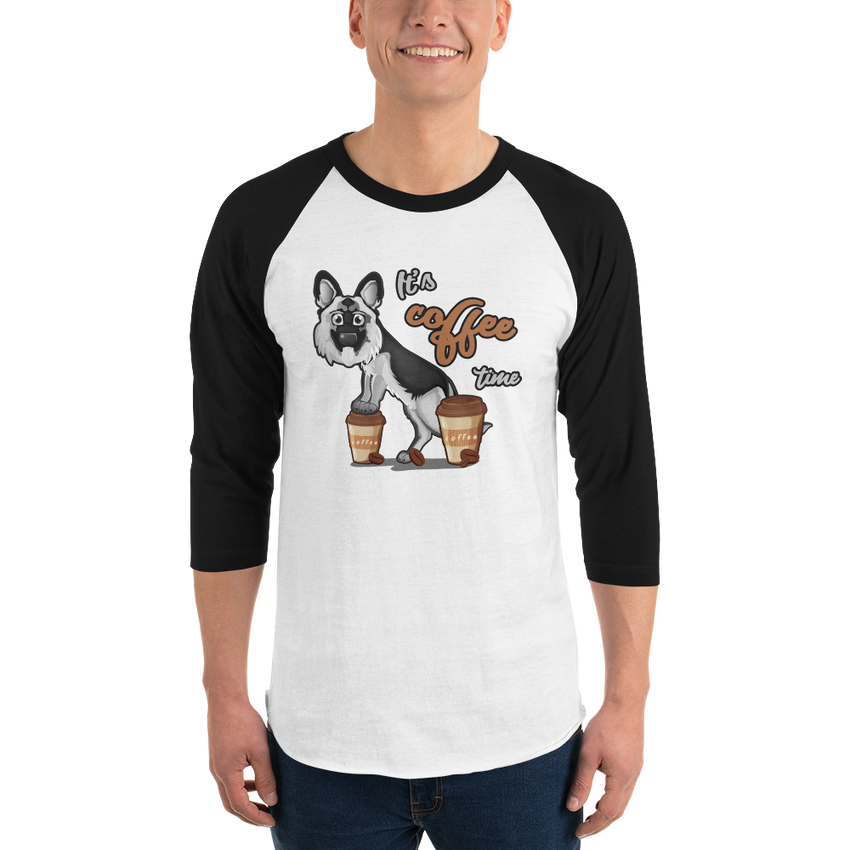 It's Coffee Time049 Tultex 245 Unisex Fine Jersey Raglan Tee w/ Tear Away Label