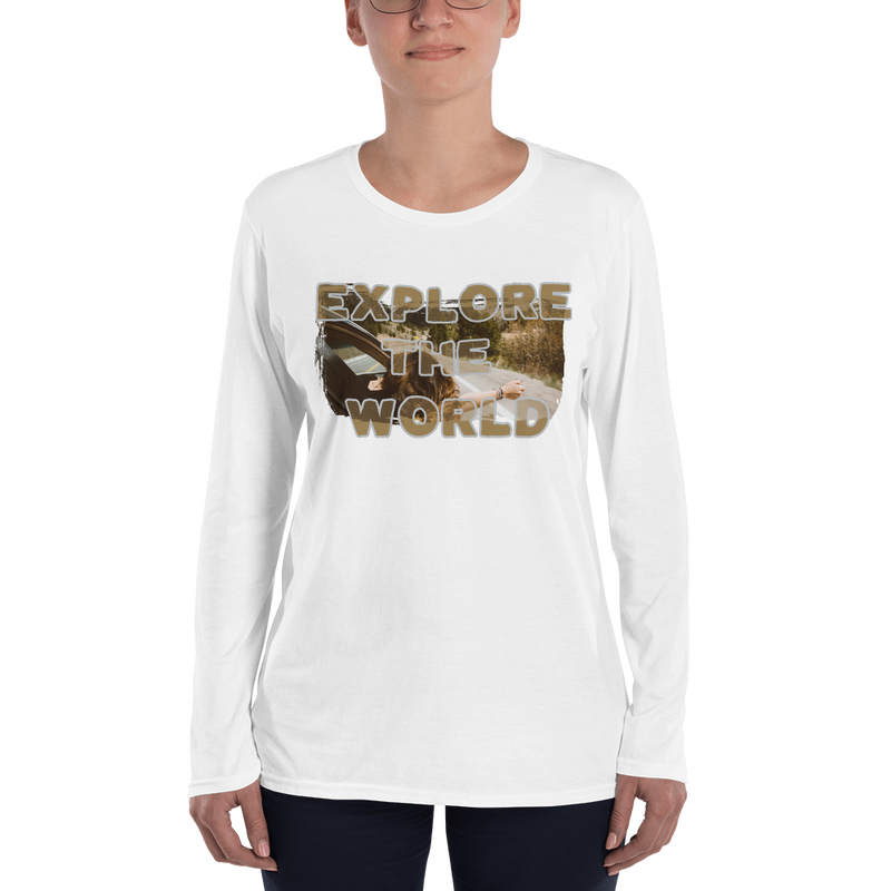 Explore The World008 Long Sleeve  Anvil 884L Women's Lightweight Long Sleeve Tee with Tear Away Label