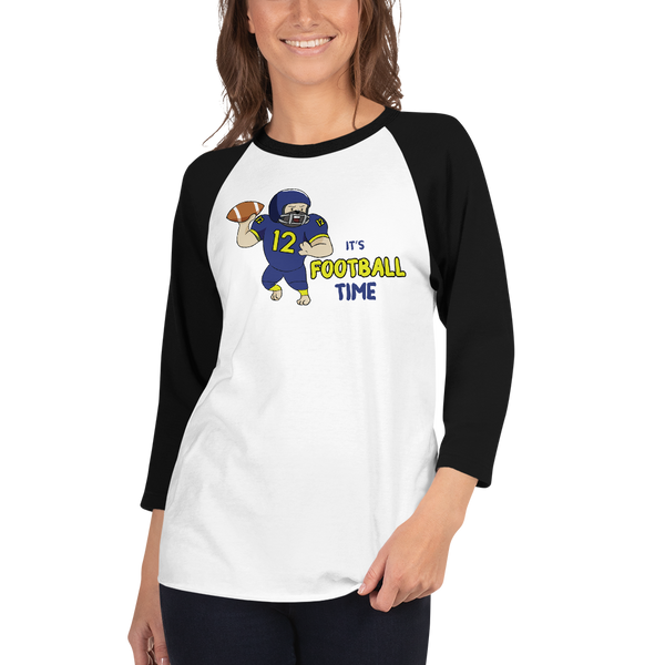 It's Football Time02 Tultex 245 Unisex Fine Jersey Raglan Tee w/ Tear Away Label