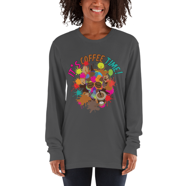 Its Coffee Time08 American Apparel 2007 Unisex Fine Jersey Long Sleeve T-Shirt Comfy style