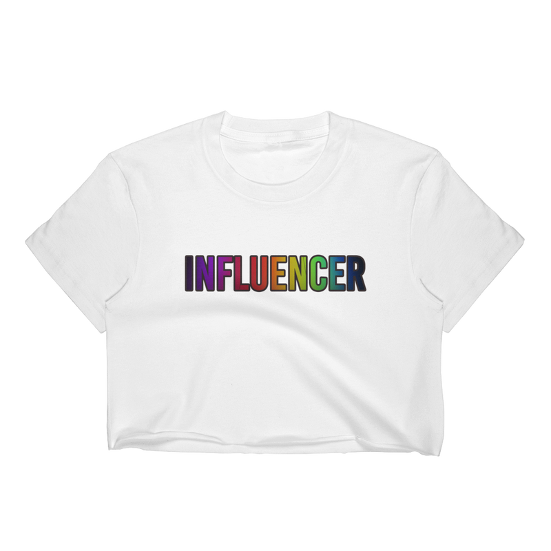 Influencer010 Los Angeles Apparel 2332 Fine Jersey Short Sleeve Cropped T-Shirt w/ Tear Away Label