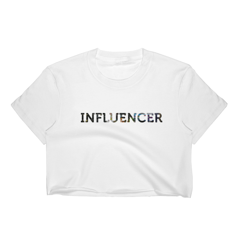 Influencer008 Los Angeles Apparel 2332 Fine Jersey Short Sleeve Cropped T-Shirt w/ Tear Away Label