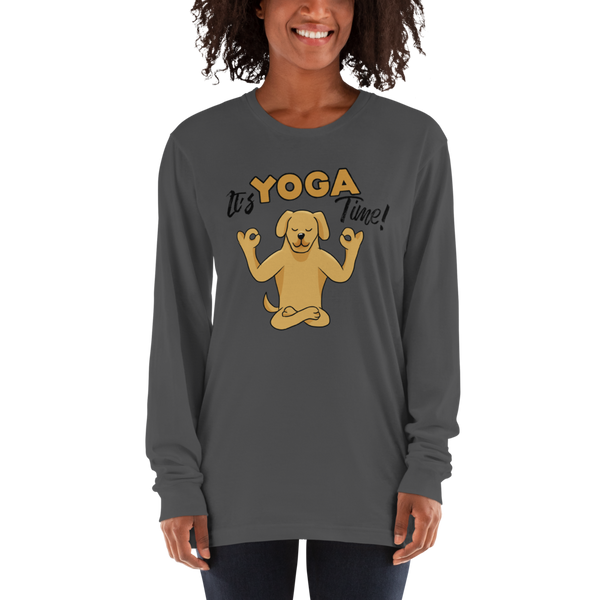 It's Yoga Time041 American Apparel 2007 Unisex Fine Jersey Long Sleeve T-Shirt Comfy style