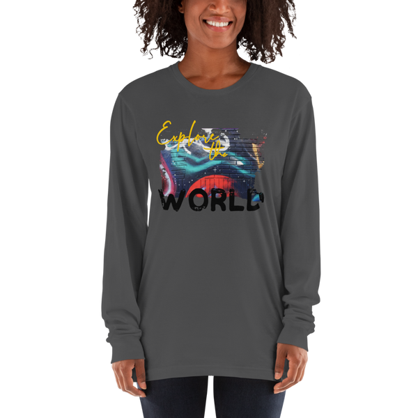 Explore The world019 American Apparel 2007 Unisex Fine Jersey Long Sleeve T-Shirt Comfy style