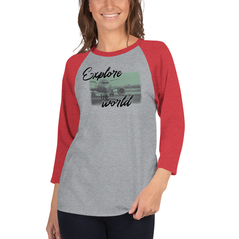 Explore The World0013 3/4 Sleeve Tultex 245 Unisex Fine Jersey Raglan Tee w/ Tear Away Label