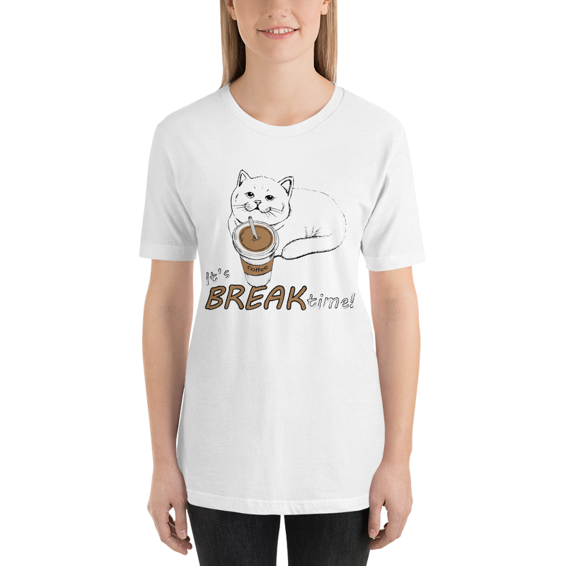 It's Break Time002 Bella + Canvas 3001 Unisex Short Sleeve Jersey T-Shirt with Tear Away Label