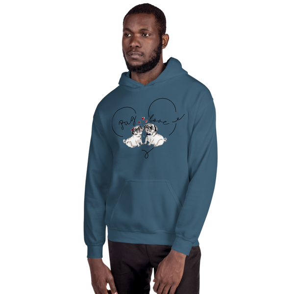 Pug Love03 Gildan 18500 Unisex Heavy Blend Hooded Sweatshirt