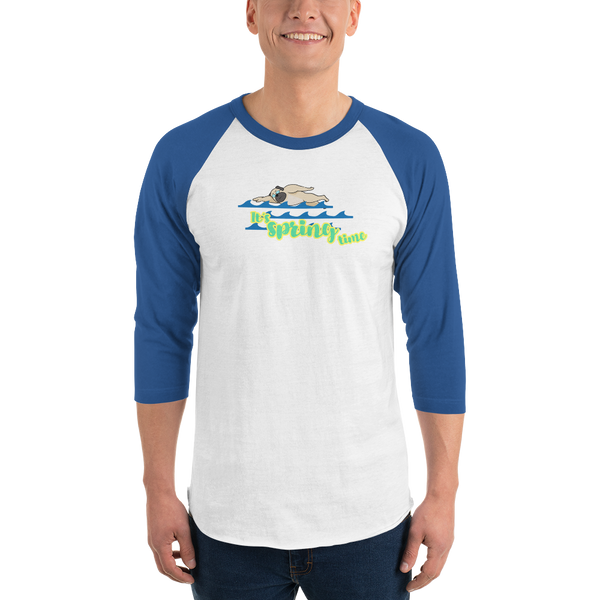 It's Swimming Time01 Tultex 245 Unisex Fine Jersey Raglan Tee w/ Tear Away Label