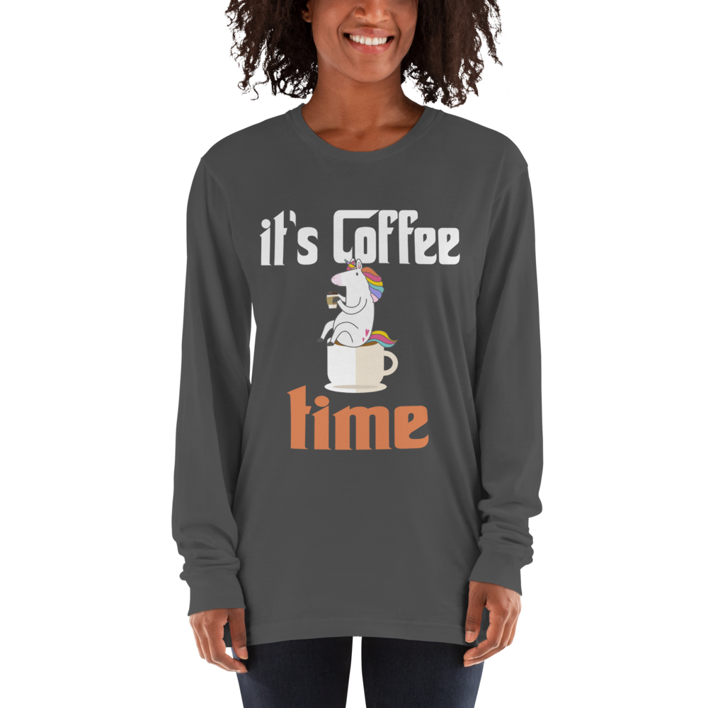 Its Coffee Time07 American Apparel 2007 Unisex Fine Jersey Long Sleeve T-Shirt Comfy style