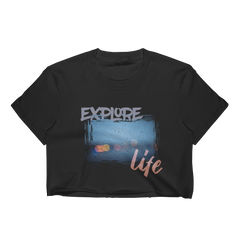 Explore Life001 Los Angeles Apparel 2332 Fine Jersey Short Sleeve Cropped T-Shirt w/ Tear Away Label