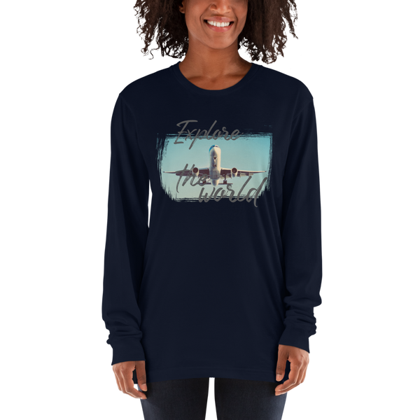 Explore The world003 American Apparel 2007 Unisex Fine Jersey Long Sleeve T-Shirt Comfy style
