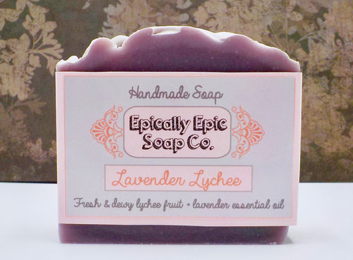 Lavender Lychee Cold Process Soap - Vegan Handmade Soap - Winter / Spring 2021