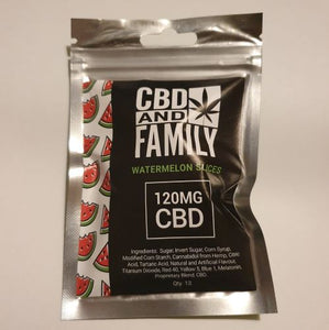 CBD and Family Watermelon Slices - 120mg CBD Gummies