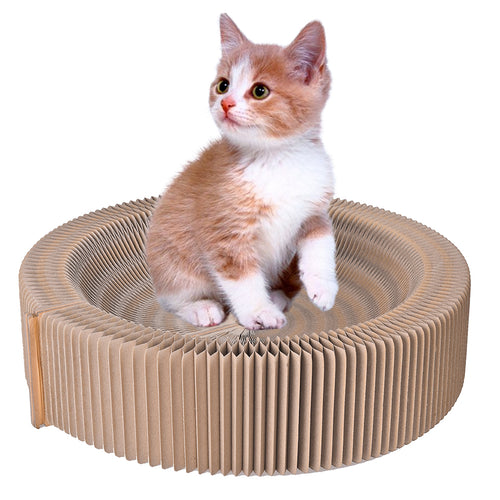 Petacc Cat Scratcher Bed Pussy Scratch Lounge Recycled Corrugated Cardboard Cat Bed for Indoor Cat Toys, Yellow