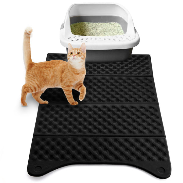 Petacc Cat Litter Mat Litter Trap Mat Scatter Control for Litter Box, Soft on Sensitive Kitty Paws, Easy to Clean, 24*16.9'' - Petacc