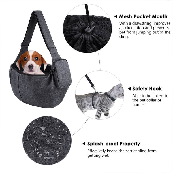 Petacc Pet Sling Cat Outdoor Travel Bag with Adjustable Shoulder Strap for Small-sized Dogs and Cats - Petacc