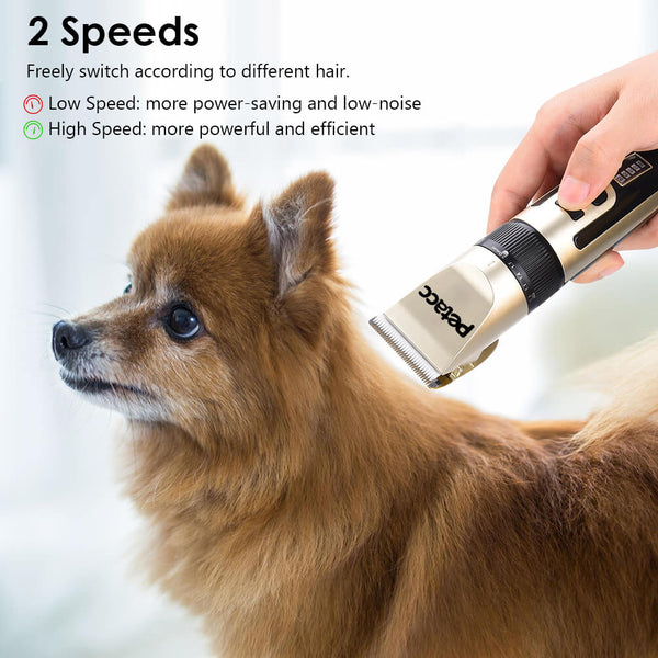 Petacc Dog Clipper 2-Speed Cordless Pet Hair Grooming Clipper Kit Hair Trimmer - Petacc
