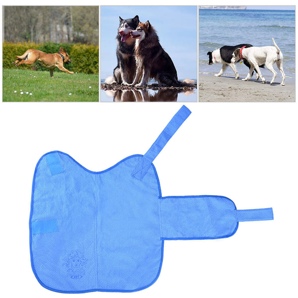Petacc Dog Cooling Vest Anti-UV Dogs Cooling Coat Outdoor Pet Cooler Jacket with Self-adhesive Strap for Hot Summer, Prevent Heatstroke, Avoid Sunburn, Perfect for Medium and Large-sized Dogs, Blue - Petacc