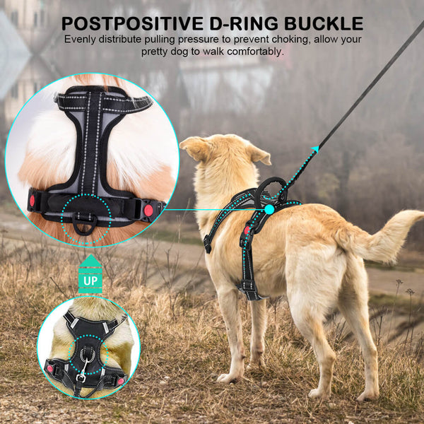 Petacc Dog Harness Pet Harness Adjustable Outdoor Pet Reflective Vest Dog Walking Harness with Postpositive D-Ring Buckle for Dogs - Petacc