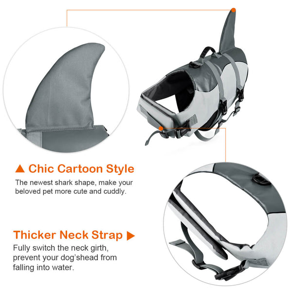 Petacc Dog Life Jacket Pet Float Coat Dog Lifesaver Dog Life Preserver, Shark Style, Grey - Petacc