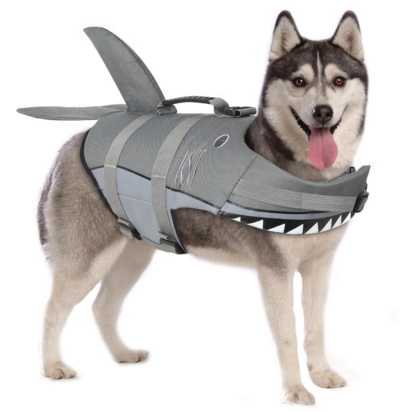 Petacc Dog Life Jackets Pet Life Vest Flotation Dog Swimwear with Shark Shape for Middle Size Dogs - Petacc