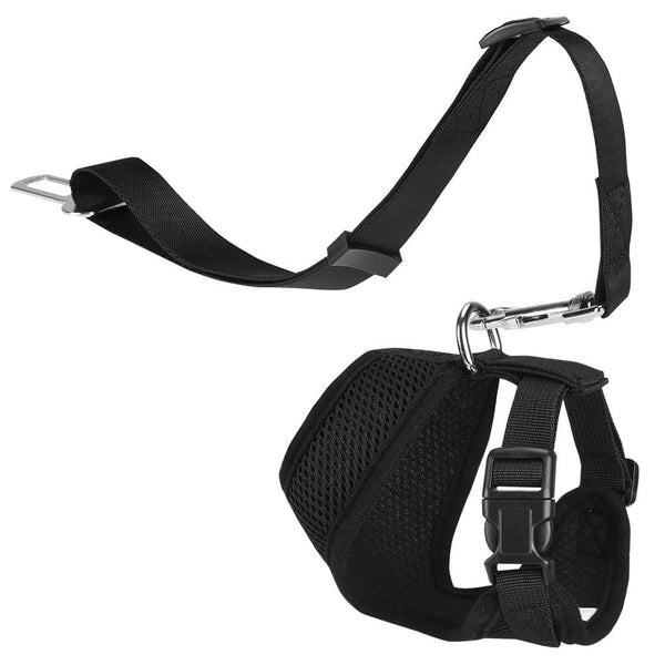 Petacc Dog Safety Vest Pet Harness Mesh Dog Leash Set No-pull Puppy Vest Leash with Adjustable Safety Seat Belt, Easy Control for Small Dogs, Black - Petacc