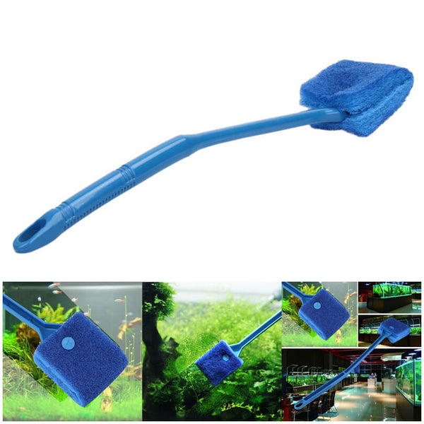 Petacc Double-Sided Fish Tank Cleaner Sponge Cleaning Brush Portable Scraper Practical Scrubber with Non-Slip Handle, Suitable for Cleaning Fish Tank - Petacc