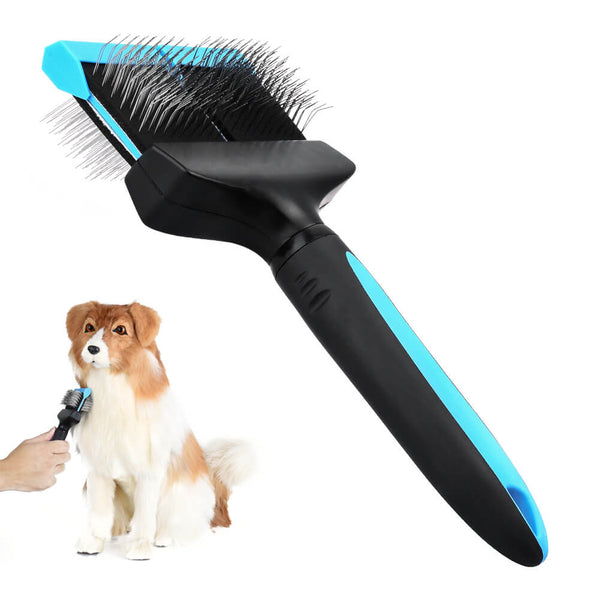 Petacc Double Sided Pet Grooming Brush Flexible Pet Pin Brush Double Sided Dog Slicker with Non-slip Handle and Rounded Tipped Pins, Suitable for Long-haired Pets - Petacc