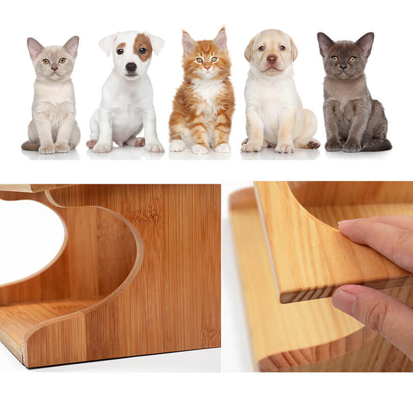 Petacc Durable Pet Bowl Stainless Steel Cat Dish Eco-friendly Dog Feeder with 3 Pet Bowls and 1 Wooden Holder - Petacc