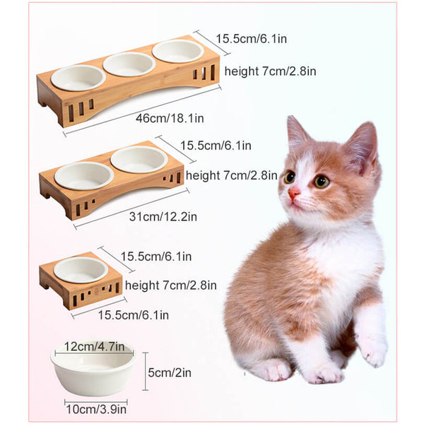 Petacc Dog Bowl Cat Food Feeder, Combined with Bamboo Stand and 2 Ceramic Bowls - Petacc