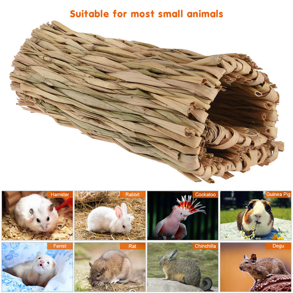 Petacc Grass Hamster Bed Woven Small Animal Mat Safe Pet Chew Toy for Hamster, Rabbit, Hedgehog and Guinea Pig - Petacc