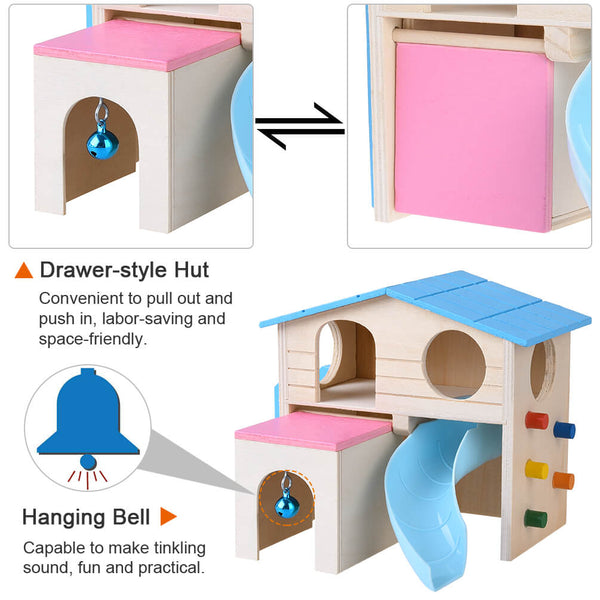 Petacc Hamster House Wooden Pet Cabin Small Animal Hideout Deluxe Hamsters Villa Creative Two-layer Hut