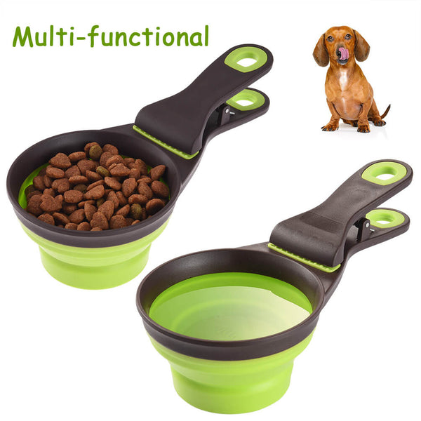 Petacc Multi-functional Pet Food Spoon Measuring Pet Spoon Smooth Measuring Cups with Clip, 237ml Capacity, Green - Petacc