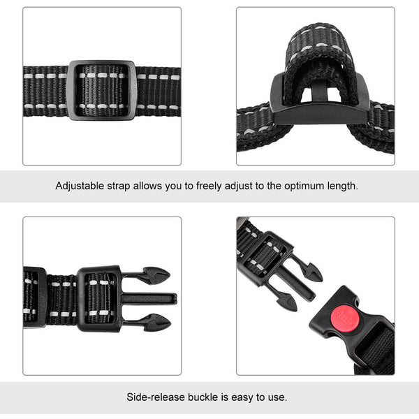 Petacc Outdoor Dog Harness Adjustable Pet Harness Reflective Vest with Postpositive D-ring Buckle for Dogs, Grey - Petacc