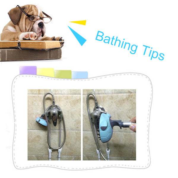 Petacc Pet Bath Sprayer Dog Shower Brush Cat Massager Shampoo Handheld Sprayer with Stainless Steel Hose Blue - Petacc