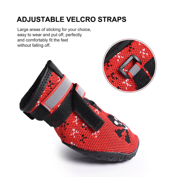 Petacc Pet Boots Paw Protector Dog Boots with Reflective Straps & Anti-Slip Sole, Red - Petacc