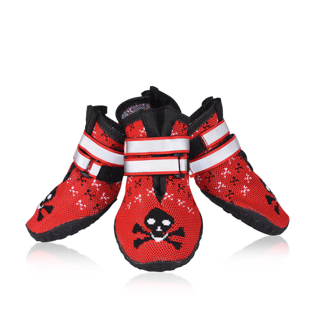 aa9c0b0dc18 Petacc Pet Boots Paw Protector Dog Boots with Reflective Straps & Anti-Slip  Sole, Red