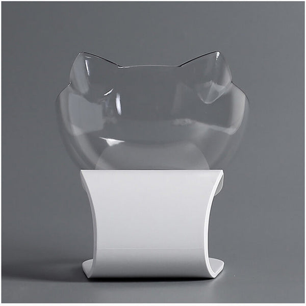 Petacc Pet Bowl Anti-slip Cat Dish Tilted Pet Feeder with Slope Base, Suitable for Most Cats, White and Transparent - Petacc