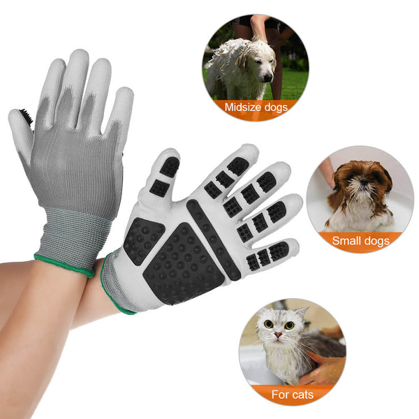 Petacc Pet Grooming Glove Breathable Dog Deshedding Brush Gloves Efficient Pet Hair Remover Mitt with Elastic Cuffs and Five Finger Design, Suitable for Small and Medium-Sized Pets, 1 Pair - Petacc