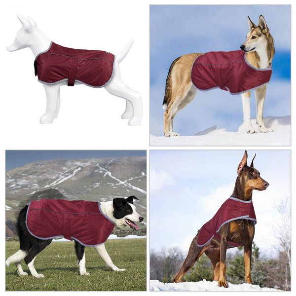 Petacc Pet Jacket Dog Coat Warm Pet Vest Windproof Dog Apparel with Adjustable Strap and Reflective Stripe, Suitable for Medium and Large Size Dogs, Red - Petacc