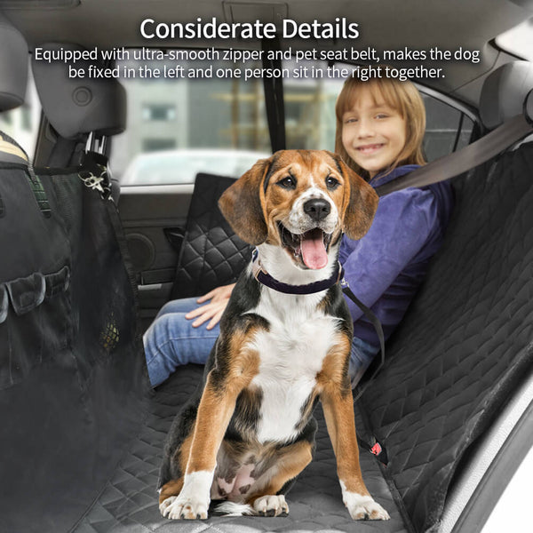 Petacc Dog Back Seat Cover Dog Car Hammock with Visible Window Enlarged Door Protector from Dog Scratching Pet Seat Cover Custom Fit for Car, SUV, Truck with Dog Seat Belt - Petacc