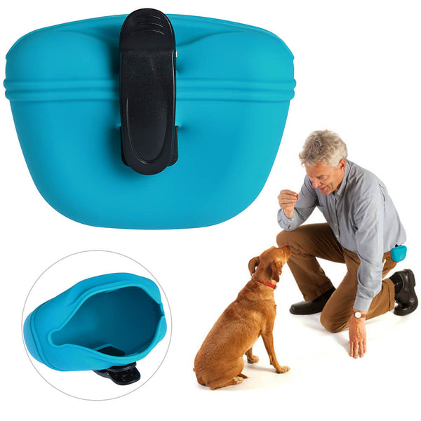 Petacc Pet Training Bag Silicone Dog Training Pouch Portable Pet Treat Pouches with Clip and Magnetic Closing Blue - Petacc