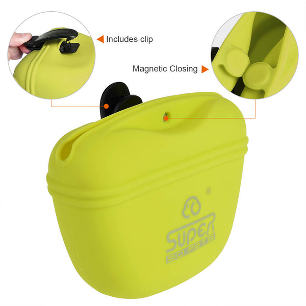 Petacc Pet Training Bag Silicone Dog Training Pouch Waterproof Pet Treat Pouch Portable Dog Treat Training Pouch with Clip and Magnetic Closing, Green - Petacc
