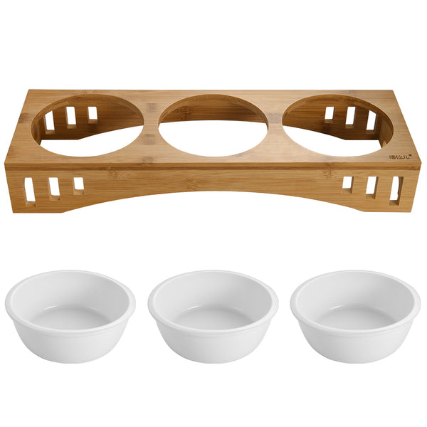 Petacc Elevated Pet Bowl, Combined with Bamboo Stand and 3 Ceramic Bowls - Petacc