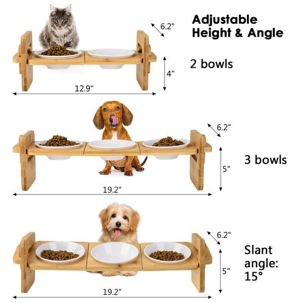 Petacc Raised Pet Bowl Dog Bowls Cat Feeder with Bamboo Holder and 3 Bowls - Petacc