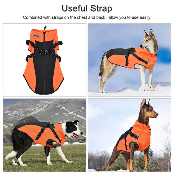 Petacc Warm Pet Jacket Premium Dog Winter Coat Durable Dog Apparel with Adjustable Strap and Reflective Stripe, Suitable for Medium and Large Size Dogs, Orange - Petacc